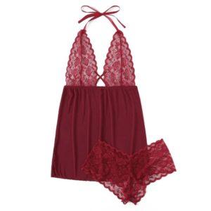 Low Price Loss Sale 2019 Women Plus Size V-Neck Backless Halter Nightdress Lingerie Set  Underwear S-3XL Dress For Sex Beautiful