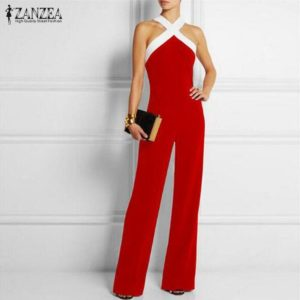 ZANZEA 2020 New Fashion Women Rompers Summer Sexy Halter Backeless Jumpsuits Sleeveless Casual Long Playsuits Plus Size Overalls