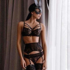 Women Sexy Lace Underwire Bra Sleepwear Bandage Black Seamless Unlined Patchwork Lingerie Garter Adjusted-Strap Underwear