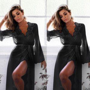 bielizna nocna lingerie Lace Nightgown V-neck Sleep dress Nightwear Women Spaghetti Strap Nightdress Long Sleepwears For Female