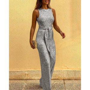 2020 Fashion Jumpsuit Summer Women Slim Backless Sleeveless Belt Rompers Elegant Glitter High Waist Clothes Streetwear SJ5054V