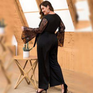 4XL Autumn Plus Size Jumpsuit women 2019 Sexy Mech Sleeve Big Size Romper Overall Large Size Casual Female Elegant Jumpsuit