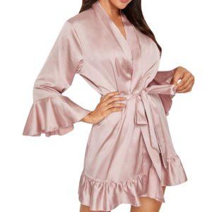 Sleepwear 2019 Women Satin Pyjamas Robe Satin Sexy Lace Kimono Pajamas Sleep&lounge Pijama Silk Nightwear Sleepdress #YJ