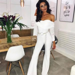 Women Jumpsuits Fashion Casual Solid Color Off Shoulder Autumn Winter Long Sleeve Rompers Overalls Monos de Fiesta 2020 New E