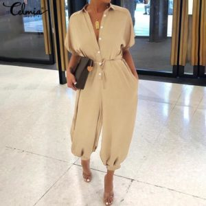 2020 Celmia Women Vintage Jumpsuits Summer Short Sleeve Rompers Casual Loose Buttons Cargo Pants Plus Size Overalls Playsuits