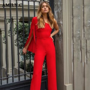 Amily.c2019 Winter Fashion Ladies Bandage Jumpsuit Sexy Red One Shoulder Long Sleeve Split Club Party Straight Jumpsuit